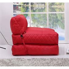 bowery hill leather convertible bean bag chair bed in red bh 526765