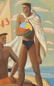 american the swimmers superb art deco painting influenced by cubism 1934 for