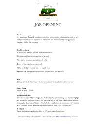 Landscaping Job Description For Resume by Job Internship Postings Byu Idaho Horticulture