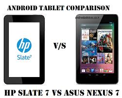 android tablet comparison hp slate 7 vs asus nexus 7 android tablets comparison