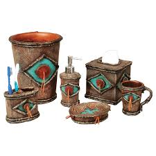 Brown Bathroom Accessories Giving Sweet Look For Bathroom With Turquoise Bathroom Accessories