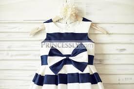 ivory navy blue stripes satin flower dress with bow