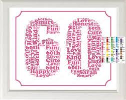 gift 60 year personalized 60th birthday word birthday sixty birthday gift 60 ye