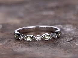 silver wedding band deco peridot wedding band 925 sterling silver wedding ring