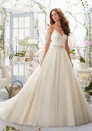wedding dresses with straps alencon lace bodice with satin shoulder straps on soft net morilee