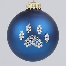 navy blue paw print ornament and cat paw print