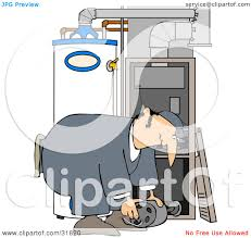 clipart illustration of a furnace repair man bending over while