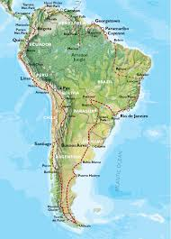 Physical Map South America by South America Adventure Travel Maps Oasis Overland