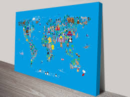 Map Of The World Art by Animal Map Of The World Wall Art Canvas