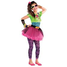 neon teen party retro 80s colourful girls teens fancy dress