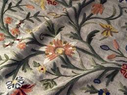 Traditional Upholstery Fabrics Crewel Fabric Tree Of Life Multicolor On Natural Brown Club Line