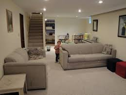 Ideas For Basement Floors Furniture Cool Basement Family Room Ideas With Comfy Grey
