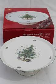 happy holidays china pedestal cake plate tree pattern