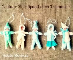 house revivals vintage style spun cotton ornaments