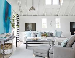 Living Room Furniture Layout With Tv Living Room Beach Home Black Coffee Console Nice Stripe Pillow