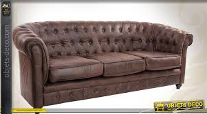 canapé chesterfield ancien canapé marron style chesterfield 3 places en cuir synthétique
