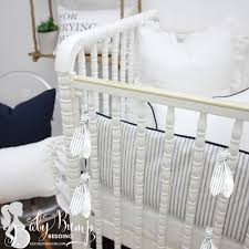 Infant Crib Bedding Farmhouse Navy Ticking Stripe Gender Neutral Baby Bedding