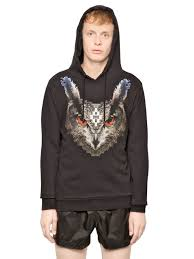marcelo burlon pixeled owl fleece sweatshirt in black for men lyst