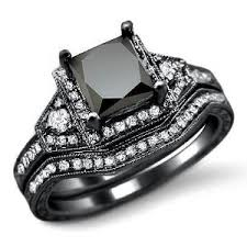 black gold wedding sets 2 0ct black princess cut diamond engagement ring bridal set