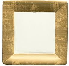 caspari entertaining square dinner plates gold leaf