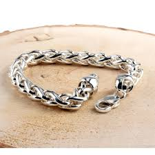 mens silver bracelet chain images Heavy chunky mens silver braided curb bracelet solid sterling silver jpg