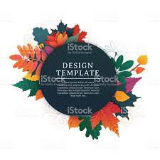 Thanksgiving Leaf Template Template Design Round Banner For Fall Season With White Frame And