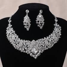rhinestone necklace sets images Clear rhinestone crystal earrings necklace set bridal wedding jpg