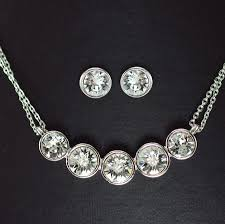 simple diamond sets simple 5 diamond classic necklace and earring set