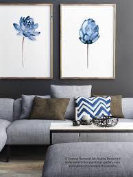 Blue Home Decor Lotus Flower Print Floral Watercolor Painting Set Of 2 Blue