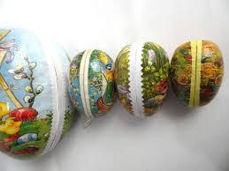 vintage paper mache easter eggs easter eggs set of 4 german easter paper mache eggs largest 9