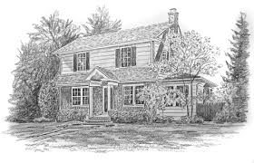 House Drawings by House Portraits Make Perfect Gifts For Home Owners New Or Old
