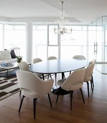adorable image of dining room decoration using white oval glass