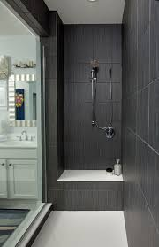 Bathroom Tiled Showers Ideas Dark Gray Large Shower Tiles Walk In Shower Ideas Glass Door