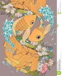 elegant goldfish couple coloring page stock illustration image