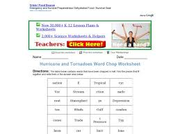 hurricane and tornadoes word chop worksheet 4th 6th grade