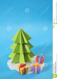 christmas tree paper cut gift colorful xmas card stock photo