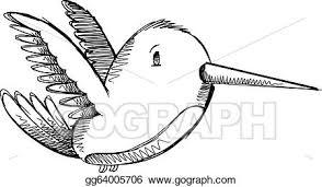 vector illustration cute hummingbird sketch drawing ve eps