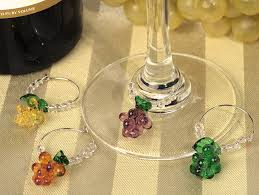 4pc wine murano style glass grapes charm set