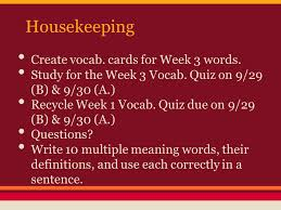 bell ringer complete the bell ringer worksheet housekeeping c
