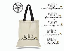 bridal party tote bags flower girl tote bag floral canvas tote bag of honor