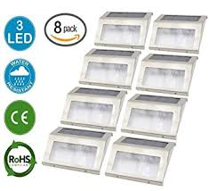 Solar Dock Lighting by Amazon Com 8 Pack Solar Powered Stainless Steel Staircase Led