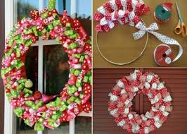 ribbon wreath diy christmas ribbon wreath home design garden architecture