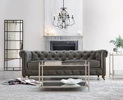 Armen Living Barrister Sofa by Furniture Cyprian Grey Velvet Sofa With Black Wood Legs For Home