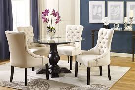 dining room the mid century white vinyl wing chair with tufted