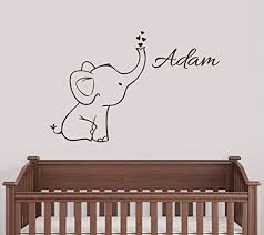 Nursery Decor Wall Stickers Personalized Elephant Wall Decal Nursery Decor Free Shipping