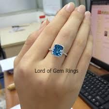 london blue topaz engagement ring emerald cut 8x10mm london blue topaz diamond halo engagement ring