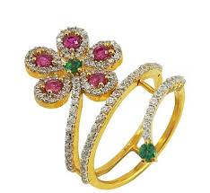 gold stone rings images Multicolor stone gold spiral ring with cz at rs 20365 piece png