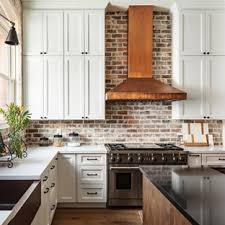 kitchen backsplash ideas with white cabinets houzz 75 beautiful kitchen with recessed panel cabinets and brick