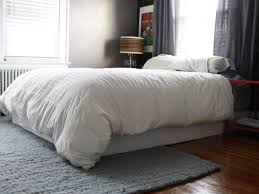No Bed Frame Cover Your Boxspring With An Easy Fabric Wrap How Tos Diy