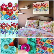 Crochet Home Decor Patterns Free Button Flower Wall Art Step By Step Chwila Na Zabawę Pinterest